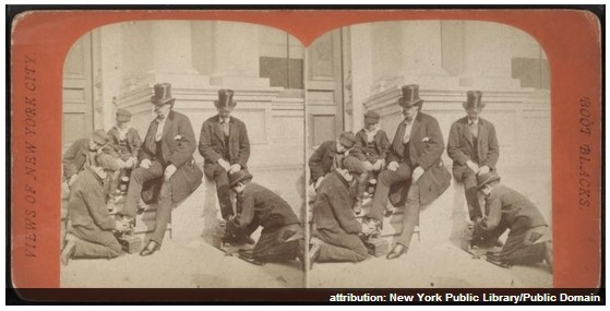 Boot blacks from Robert N Dennis collection of stereoscopic views
